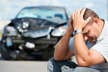 Car Accident and upset man