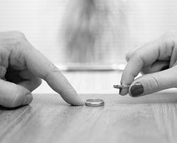 Wedding rings on table