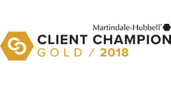 Martindale-Hubbell client champion gold 2018 award logo